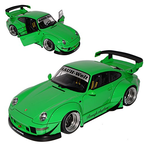 AUTOart Porsche 911 993 Carrera Coupe RWB Coupe Grün Rauh-Welt 1993-1998 78151 1/18 Modell Auto mit individiuellem Wunschkennzeichen