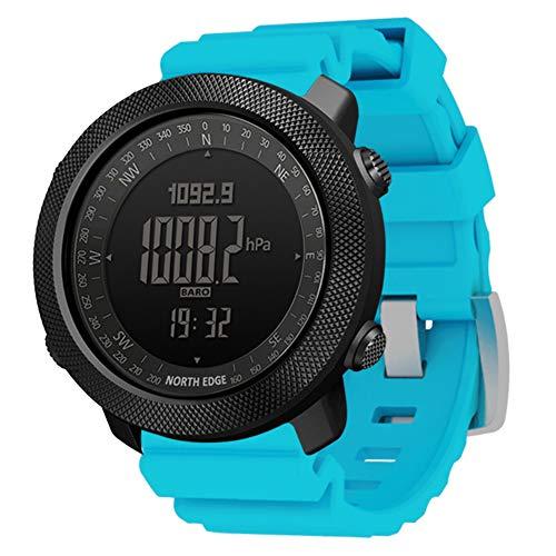 Reloj deportivo militar para hombre Relojes de pulsera digitales multifuncionales para exteriores 50M Brújula impermeable Altímetro Barómetro Reloj de banda de gel de sílice para montañismo,Azul