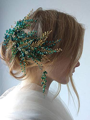 Deniferymakeup Accesorios para el pelo nupcial de cristal, juego de pendientes de diadema vintage verde oro vid, diadema, fiesta de noche, corona personalizada para boda