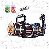 U/D Gatling Bubble Gun, 5 Hole Bubble Machine Gun Automatic Bubble Machine with Lights and Shooting Sound Children's Toy Guns Sports & Outdoor Play Toys (Black)