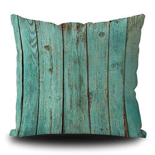 Funda de cojín de madera con estampado de tablero de color turquesa, madera verde azulado, decoración cuadrada, funda de cojín para dormitorio, sofá de 45,7 x 45,7 cm