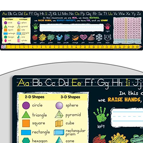Really Good Stuff Chalkboard-Style Desktop Helpers Set of 24 – 18x5 Handy Desktop Reference for Numbers Letters Shapes Colors and More – Durable Vinyl Self-Adhesive Resource for Student Desks