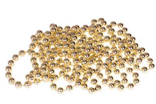 Clever Creations - Filo di Perle Decorativo - Decorazione Classica Natalizia con Perline da 8 mm infrangibili - Oro - 2,7 m