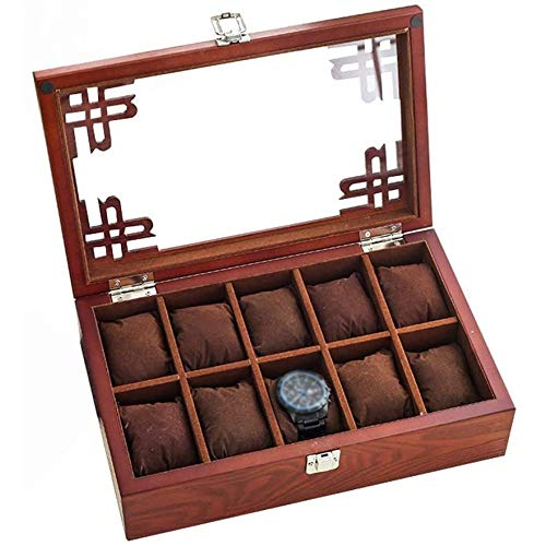 SONGTAO 10 Grid Watch Box Jewelry Display Storage Box With Removable Pillows Holders And Glass Lid