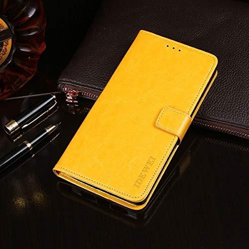Liluyao Funda telefónica para Xiaomi Caballo Loco Textura Horizontal del Cuero del tirón con el sostenedor y Ranuras for Tarjetas y Monedero (Color : Amarillo)