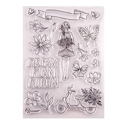 Gummistempel für Mädchen, Blumenstrauß, Schleife, Motorrad, transparent, für Scrapbooking, Kartenherstellung, Geburtstag, Basteln, Valentinstag