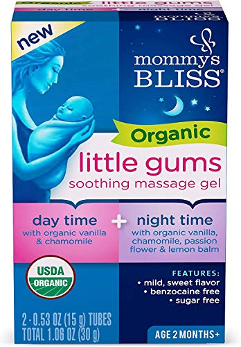 Mommy's Bliss Organic Little Gums Soothing Massage Gel, Day and Night Combo Pack, Helps with Tender Gums, Age 2 Months +, Sugar Free, 2-0.53 Oz Tubes (1 Day & 1 Night)