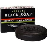 Madina Madina African Black Soap Cocoa Butter with Vitamin E, 3.5 Ounce
