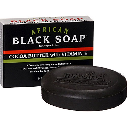 Madina African Black Soap Cocoa Butter with Vitamin E, 3.5 oz (Pack of 12)