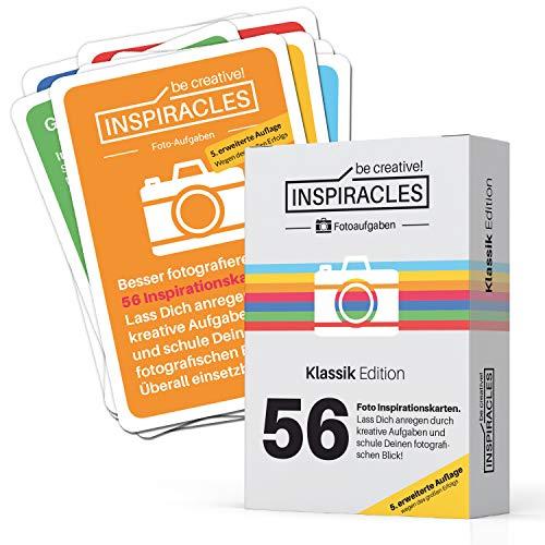 Inspiracles Foto Aufgaben – Inspiration & Fotografieren Lernen mit 52 Fotoaufgaben auf Aufgabenkarten & 10 Spickzettel - Faltschachtel