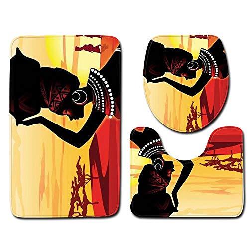 FGHJSF Alfombras de Baño Niña Africana 3 Alfombrillas de Secado rápido, Alfombra de baño de Secado rápido, Alfombra de Pedestal + Tapa de Inodoro + Alfombrilla de baño