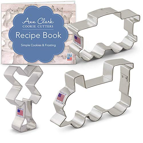 Ann Clark Cookie Cutters 3-Piece Train/Railroad Cookie Cutter Set with Recipe Booklet, Train Engine, Caboose, Railroad Crossing Sign