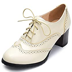 Odema Womens PU Leather Oxfords Wingtip Lace up Mid Heel Pumps