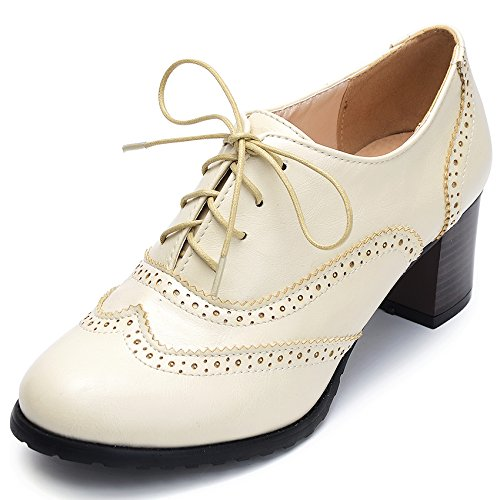Odema Womens PU Leather Oxfords Wingtip Lace up...
