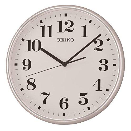 Seiko Orologio da Parete Silenzioso, con quadrante Bianco, plastica, Argento, 37.9 x 37.5 x 6.1 cm