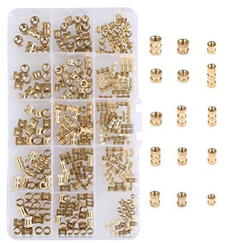 YANSHON 330 pcs Innengewinde Rändelmuttern M2 M3 M4 M5, Runde Spritzguss Messing Gewindeeinsatz Einbettung Muttern Sortiment Kit