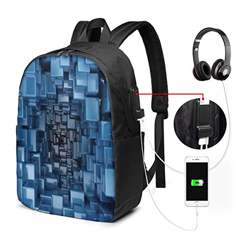 Digital Stylized Dimensional Square Shaped Cubes Glossy Geometric Style Cluster Print Laptop Backpack Business Travel Backpack with USB Charging Port & Headphone Interface for College Student