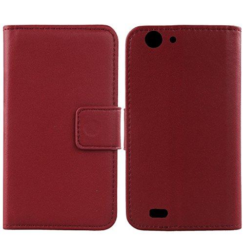 Gukas Design Genuino Cuero Case para Energy Phone MAX 4000 5' Flip Billetera Funda Carcasa De Lujo Autentico Ranuras Tarjetas Piel Premium Cover (Rojo Oscuro)