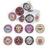 1000 Stück runde Zuckerschädel selbstklebende Aufkleber Rolle für Süßigkeiten, Kekse, Geschenk-Box, Umschlag-Aufkleber für Halloween, 3,8 cm, 8 Designs