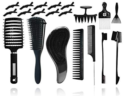YMHPRIDE Juego de cepillo de pelo de 20 piezas Cepillo desenredante ventilado para cabello natural Cabello rizado Afro Kinky Wavy,Más rápido fácil Desenredar el cabello húmedo/seco o largo sin dolor