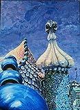 Cuadro al óleo'Buscando a Gaudí'