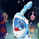Seguridad Dibujos Animados Forma de Tiburón Máscara de Buceo Integral Niños Máscara Snorkel Cara Completa 180° Vista Panorámica Anti-Niebla Gafas de Bucear Gafas de Natación Eficaz (Color : Blue)
