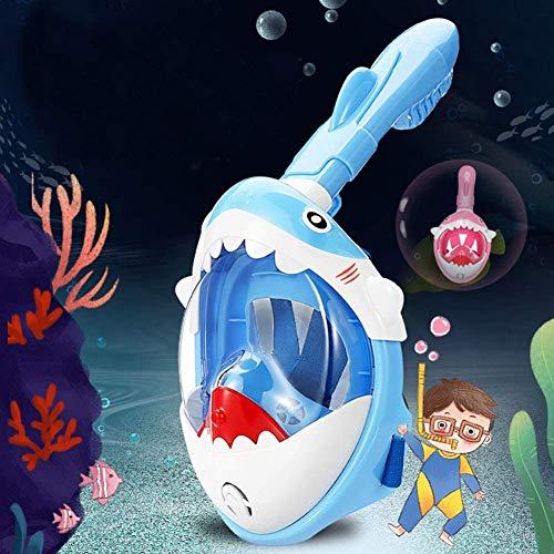 LYYAN Suministros de Buceo Dibujos Animados Forma de Tiburón Máscara de Buceo Integral Niños Máscara Snorkel Cara Completa 180° Vista Panorámica Anti-Niebla Gafas de Bucear Gafas de Natación Deportes