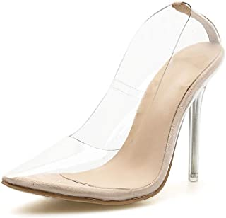 Women's High Heels Spring Summer Pointed Stiletto Shoes Transparent Fashion Pumps Closed Toe Dance Shoes Wedding Shoes,Clear,39