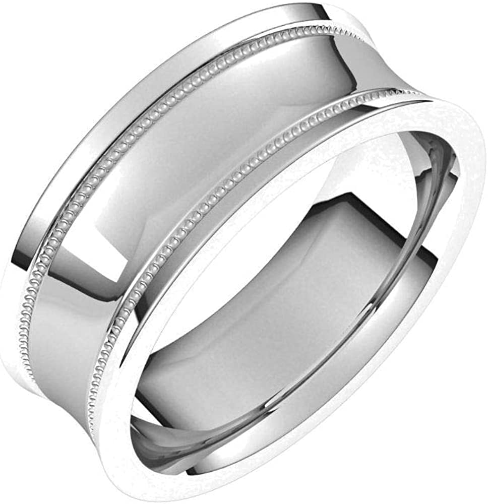 Bonyak Jewelry Solid Sterling Silver Popular brand in the world 7mm with 1 year warranty E Milgrain Concave