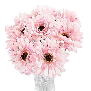 Htmeing 10 pcs Sunbeam Artificial Flower Mum Gerber Daisy Bridal Bouquet Silk Wedding Party Decoration