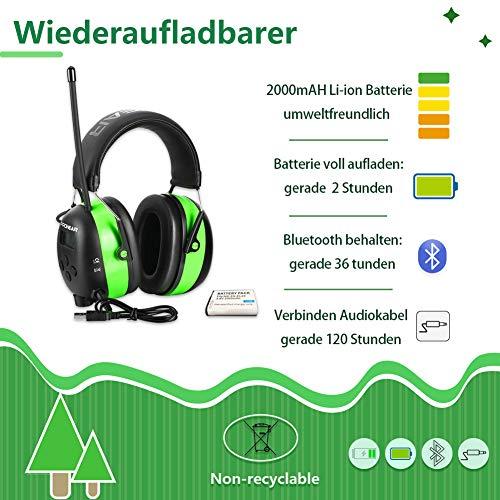 PROHEAR 033 Gehörschutz mit Bluetooth, FM/AM Radio Ohrenschützer, Eingebautem Mikrofon und Lärmreduzierung für Forst-, oder Landarbeit & lärmintensive Freizeitaktivitäten SNR30dB - 3