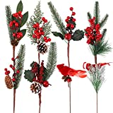 URATOT 8 Pack Artificial Christmas Picks 13.8 Inches Pine Tree Branches Stems Faux Pine Picks with Pine Cones Red Berry Flower Ornaments for Xmas Wreaths Home Vase Decor