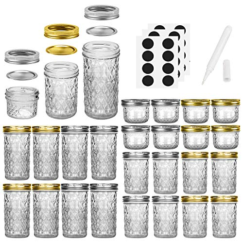 Mason Jars Canning Jars, 24 Pack Jelly Jars With Regular Lids, Ideal for Jam, Honey, Wedding Favors, Shower Favors, Baby Foods, DIY Magnetic Spice Jars - 4 OZ x 8, 8 OZ x 8, 12 OZ x 8 (4oz -8oz-12oz)