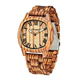 Wooden Watches for Men, shifenmei Wooden Watches Natural Handmade Analog Quartz Japanese Movement and Battery Adjustable Wood Strap Lightweight Wood Watches with Exquisite Box (Zebra)