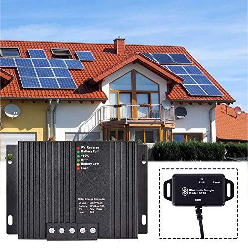 Regolatore di carica solare MPPT, WIUANG 50V 10A Regolatore di pannello solare, per regolatore di temperatura di protezione da sovracorrente della lampada della batteria del pannello solare