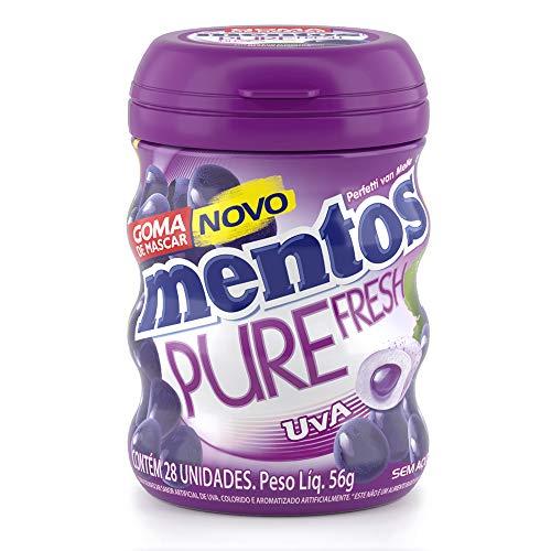 Garrafa Goma de Mascar Sem Açúcar Mentos Pure Fresh Uva | 56g - 28 unidades
