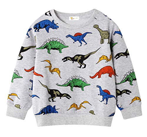 Boys Cute Dinosaur Active Sweater Pullover Sport Long Sleeve Crewneck Sweatshirts 4 5 T