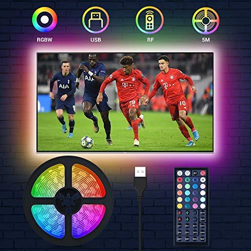 LED TV Beleuchtung, MustWin 5M LED Hintergrundbeleuchtung für 50-75 Zoll RGBW USB Strip mit RF-Ferbedienung, Dimmbar 6 Modi 20 Farben 6000K Kaltweiß DIY Farbwechsel mit Memoryfunktion Fernseher PC