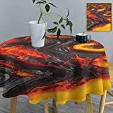 """shirlyhome Circular Table Cover Volcano Table Cover in Washable Polyester Hot Flowing Magma Lava Tablecloth for Outdoor Picnics (Diameter 54"""")"""