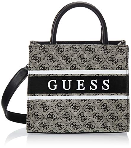 Guess Borsa mano/tracolla Uptown Chic Large Turnlock satchel 2 comp. finta pelle cocco black