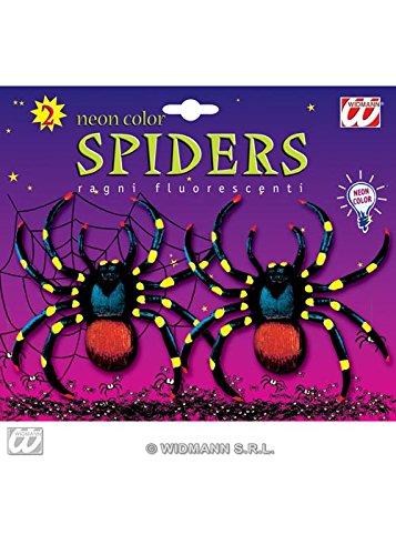 Halloween Party caoutchouc Neon araignées Pk2