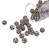 Promise Babe 30 Stücke Silikon Leoparden Perlen 12mm DIY Silikonperlen für Schnullerkette Selber Machen Set BPA Frei Essen Grade Zahnen Perlen (Schwarzer Leopard)