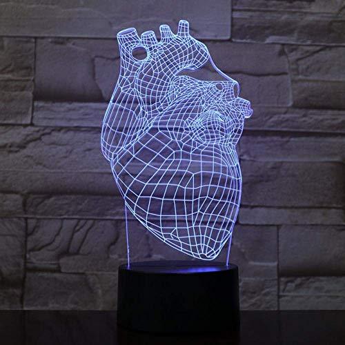 3D-nachtlampje, werkt op batterijen, 3D-lamp met gekleurde hart-accu met ruitencompensatie voor het nachtlampje van de jeugd.