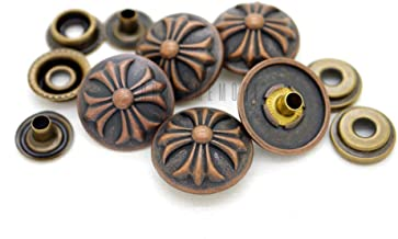 CRAFTMEmore 3/4 Inch Antique Copper Cross Snap Fastener Closure Buttons Round Popper Snaps Decorative Rivets Stud Pack of 10 (Antique Copper)