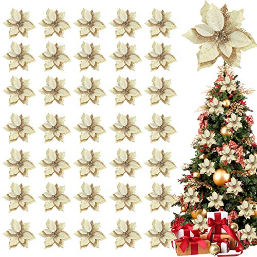 TURNMEON 36 Pack Glitter Poinsettia Christmas Flowers Decorations Christmas Tree Ornaments, Glitter Gold 4' Artificial Silk Flowers Picks Decor Wreath Garland Holiday (Gold)