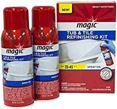 Magic Tub and Tile Refinishing Kit (Bright White) Spray on Aerosol - Refinish Sinks Tile Porcelain Acrylic Fiberglass and Ceramic Surfaces