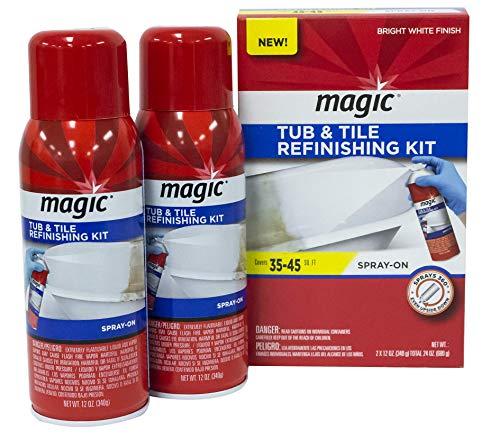 Magic Tub and Tile Refinishing Kit (Bright White) Spray on Aerosol - Refinish Sinks Tile Porcelain Acrylic Fiberglass and Ceramic Surfaces