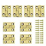 Jinyuanchao Mini Solid Brass Hinges Cabinet Drawer Butt Hinges for Jewelry Chest Wood Box,1/1.5/2.5Inch,Butt Hinges,8PCS (1Inch)