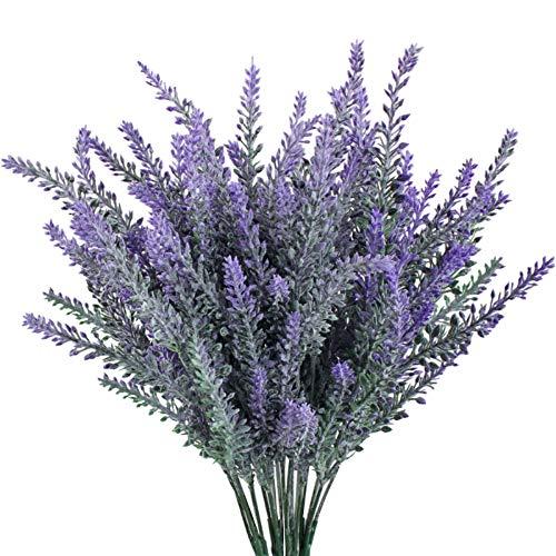 GTIDEA Künstliche Blumen, beflockt, Kunststoff, Lavendelbündel für Hochzeit, Zaumstrauß für drinnen & draußen, Küche, Büro, Tischdekoration, 4 Stück