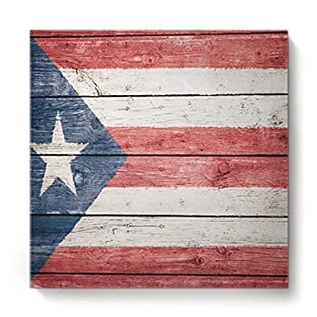 BABE MAPS 16 x16  Print Artwork Puerto Rican Flag Wall Art for Living Room Wall Decor Vintage Paintings on Canvas Stretched and Framed Prints Single Panel